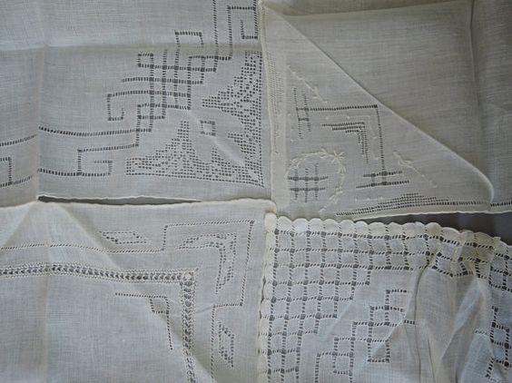 Lot of 14 Hand Sewn Drawn Work Vintage Linen by dandelionvintage