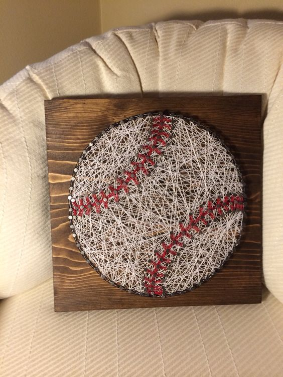 Baseball string art (sports, ball, nail, thread) - Order from KiwiStrings on Etsy ( www.KiwiStrings.etsy.com )