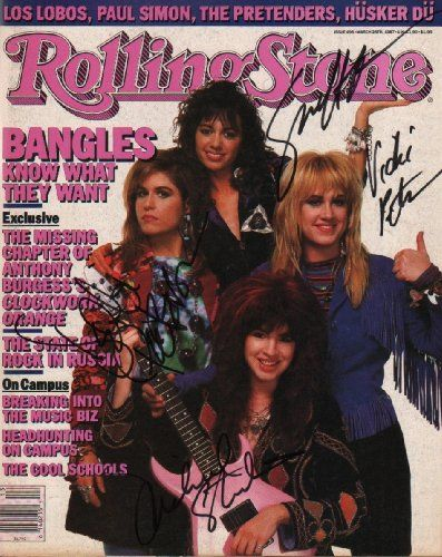 The Bangles (Susanna Hoffs, Debbie Peterson, Michael Steele & Vicki Peterson) Signed Rolling Stone Magazine. Certificate of Authenticity (COA) provided. Is Autographed?: 1. Guaranteed for life. All orders are professionally shipped. Professional lab produced photograph. We guarantee your items will arrive safely.