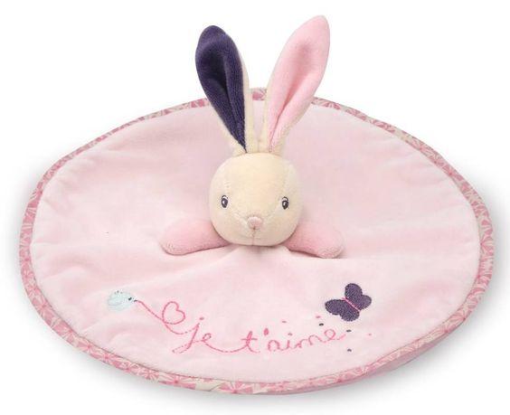 Kaloo - Doudou lapin rond je t'aime petite rose