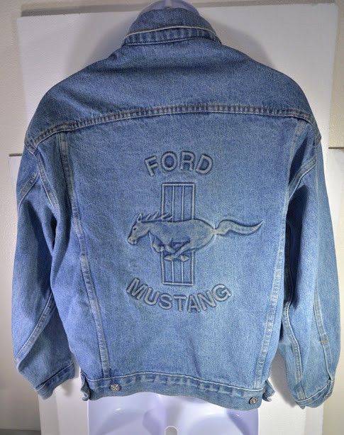 Vintage Ford Mustang Denim Jean Jacket Men S S Made In Usa Ford