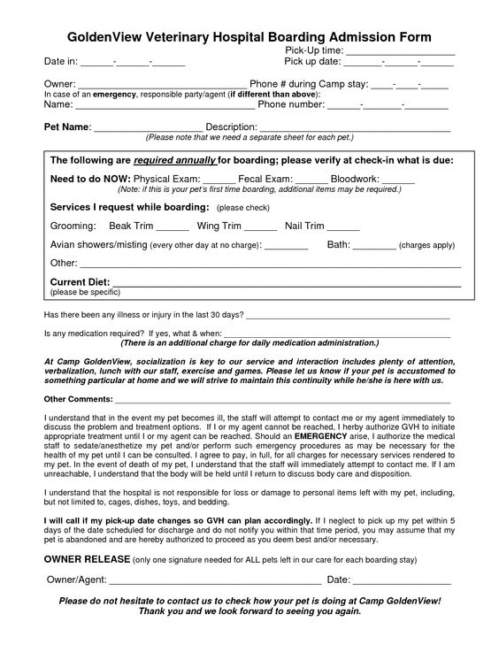 veterinary treatment sheets GoldenView Veterinary Hospital - vaccine consent form