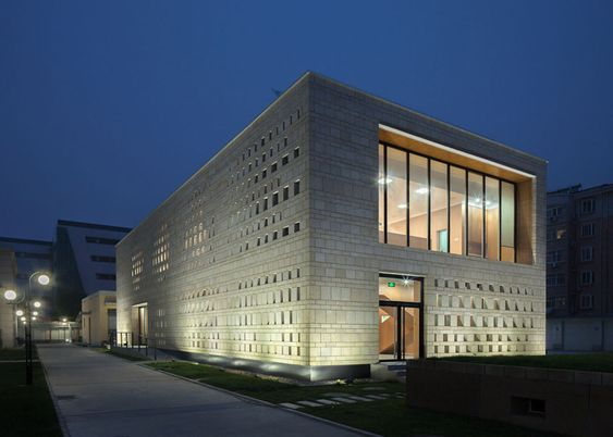"""Canteen building featuring a granite facade """"like lychee skin""""."""
