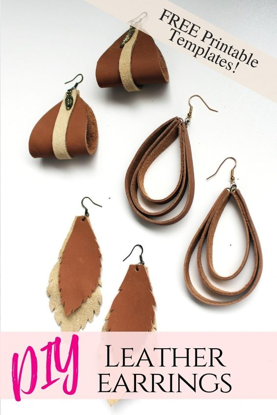 The ultimate guide on how to make leather earrings by hand. These 6 simple DIY ideas are great for making jewelry to sell, gift, or wear yourself. With a free printable template and even video tutorial, you'll have no problem making these unique, boho designs. #leatherjewelry #jewelrymaking #diy