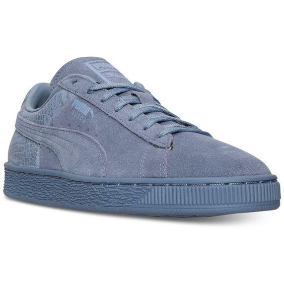 Puma Women's Suede Classic Emboss Casual Sneakers from Finish Line ($70) ❤ liked on Polyvore featuring shoes, sneakers, tempest, suede leather shoes, puma trainers, puma sneakers, suede shoes and puma shoes