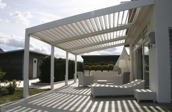 Moderne Terrassenüberdachung ideen-alu-lamellen-weiss