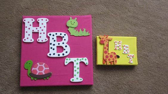 Initialed Canvas Wall Art by SuSuzTreasures on Etsy, $20.00