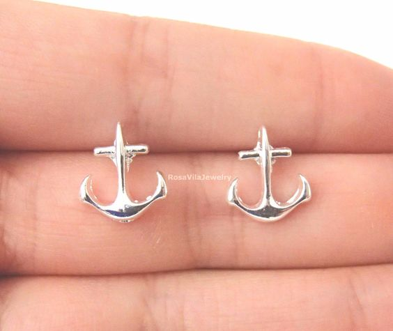 """* Dainty anchor stud earrings - available in 2 colors - silver and gold * Size: 0.5"""" by 0.6"""" * Will ship within 2-3 business days (from US) * Great gift ideas - mother's day, birthday, Christmas, Than"""
