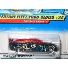 Mattel Hot Wheels FUTURE FLEET 2000 SERIES: PONTIAC-RAGEOUS: Black 1:64 Scale Die Cast Car #2 of 4: #002 $1.95