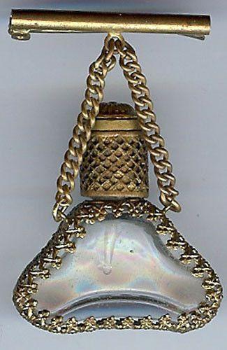 Vintage Austria Ornate Brass Glass Perfume Bottle Pin   eBay