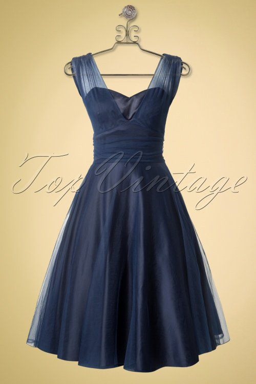 Collectif Clothing Sophie Occassion Swing Dress Navy Blue 14769 20141213 0005haakje nieuw