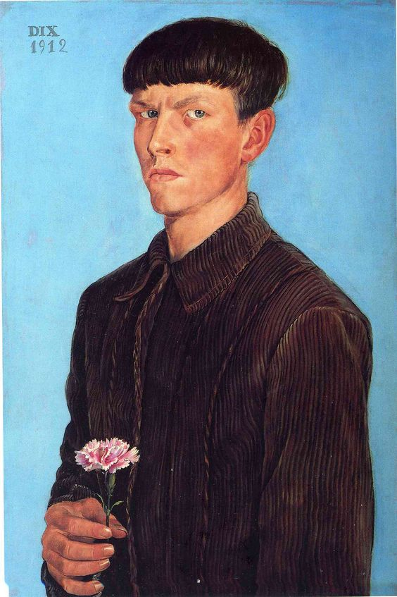 Self-Portrait - Otto Dix  This is so odd, I love it. Without the flower i think he would look much more villainous.