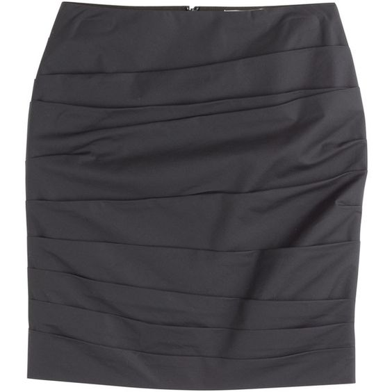 Paule Ka Ruched Cotton Skirt ($115) ❤ liked on Polyvore featuring skirts, black, paule ka, gathered skirt, textured skirt, panel skirt and ruched skirts