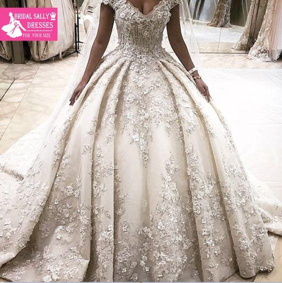 Халат Де Mariage Бальное платье Роскошные Свадебные Платья Цветы Аппликации Кружева Свадебные Платья Vestido Де Noiva 2016 Элегантный Бисером WN-1