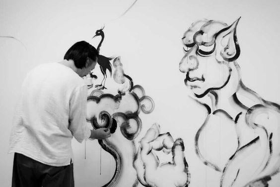 Wall painting Ghosts and monsters Black and white ink Zhu jingyi 朱敬一 微网址:www.zhujingyiart.com