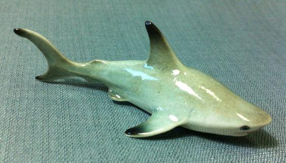 Miniature Ceramic Shark - Hand Painted