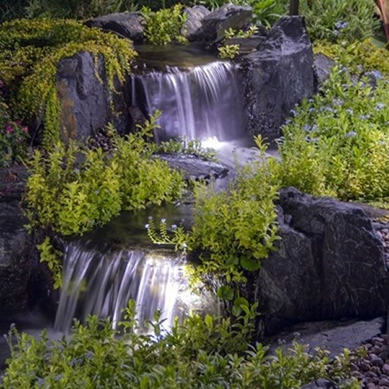 Aquascape Waterfalls With Lights Bring Your Water Feature Or Garden To Life At Night With Aquascape Pond Lights The Garden Waterfall Pond Lights Waterfall