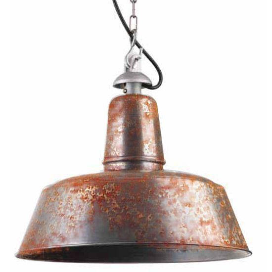 Shabby Chic-Fabriklampe mit echter Rost-Patina *…entsteht durch natürliche Korrosion eine individuelle Rost-Patina, die der Leuchte den gewünschten rauhen Charme verleiht