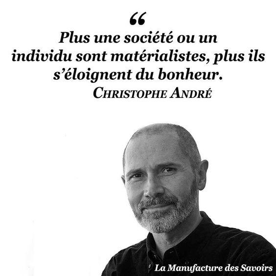 """""""Plus une société ou un individu sont matérialistes, plus ils s'éloignent du bonheur."""" Christophe ANDRÉ, Se changer, changer le monde, 2013"""