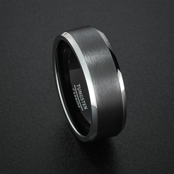 Tungsten Wedding Band Mens Ring Black Tungsten Rings Brushed Matte Finish Two…