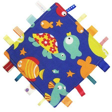 Neue, handgemachte Sicherheitsdecke Steppdecke von Dotty Fish. Hergestellt in England. Meer design. von Dotty Fish.