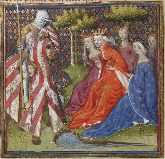 Lancelot-Graal. 3° « L'Ystoire Lancelot du Lac », la Quête du Saint Graal, la Mort d'Arthus de « GAUTIER MOAB ». Auteur : Maître des cleres femmes Enlumineur Date d'édition : 1301-1400 Type : manuscrit Langue : Français: