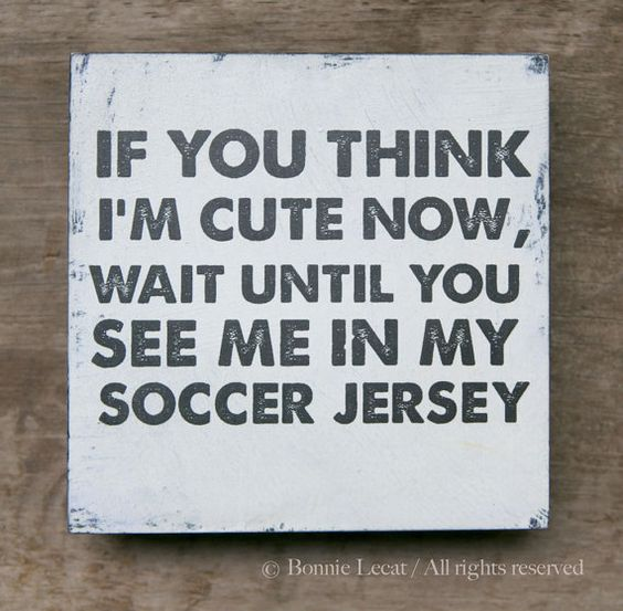 Fun vintage style hand painted sign on cradled wood panel featuring the funny phrase If you think Im cute now, wait until you see me in my soccer