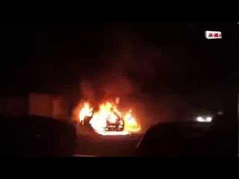 شاهد كيف احرقت سيارة الاعلامي احمد موسي