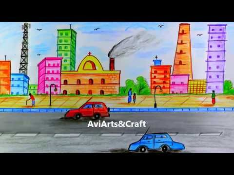 How To Draw City Scenery Step By Step Easy To Draw By Colored Pencil Youtube Easy Drawings Easy Scenery Drawing City Drawing