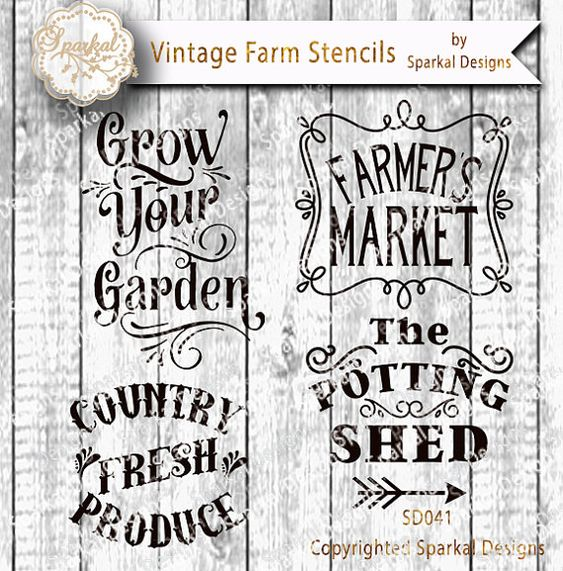Farmers market sign stencil bundle quotes garden digital for Gardening quote template