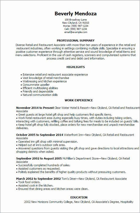 Resume Summary Examples For Retail Management Inspirational 1 Retail And Restaurant Associate Resum Resume Summary Examples Retail Resume Skills Resume Summary