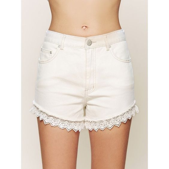 Free People Lacey Denim Cutoff Shorts ($88) ❤ liked on Polyvore