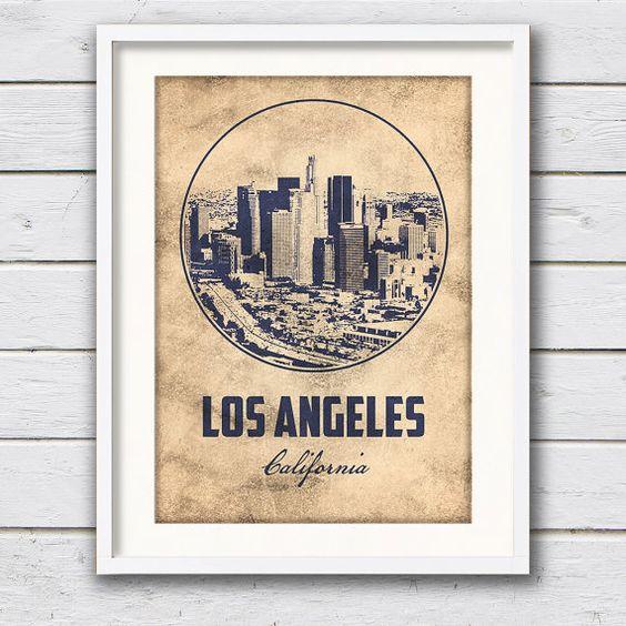 Los Angeles Skyline, LA California, Cityscape Canvas Art Print, Los Angeles Poster, City Skyline, Skyline Art, Cityscape art, LA, ArchTravel
