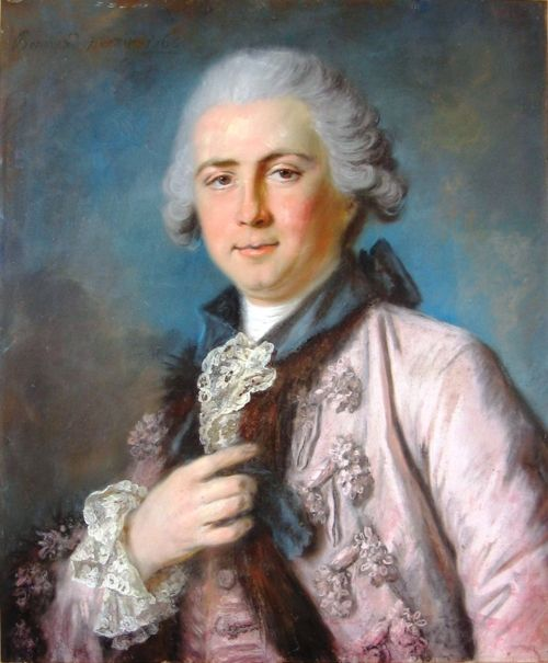 Pierre Bernard Portrait of a Man in Violet Costume (1765)