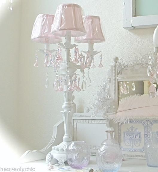 shabby french candelabra white table lamp chandelier pink crystal prisms chic nw chic pink chandelier pink