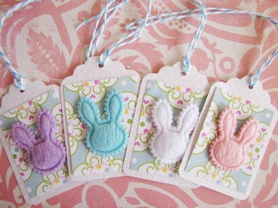 Easter Bunny Rabbit Faux Fur Gift Tags Set of 4, blue, pink, white, purple by kokovanilladesigns