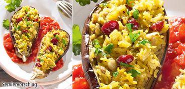 Rezept Auberginen gefüllt mit Curryreis