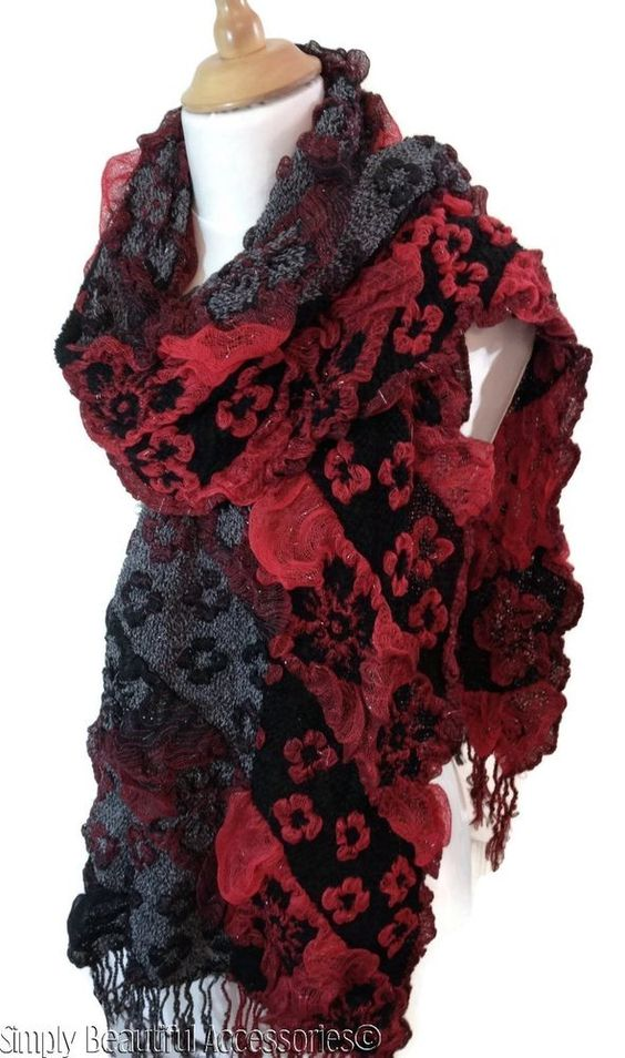 Gorgeous Winter Bubble Scarf Wrap Cowl Neck Warmer Red Black Grey