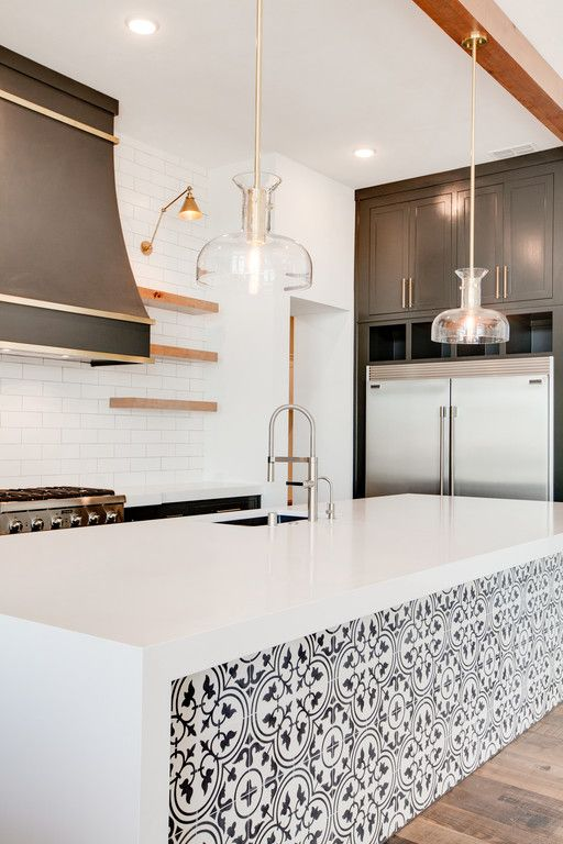 Close Up Of Kitchen Island Tile And Accent Lighting Dreamhome