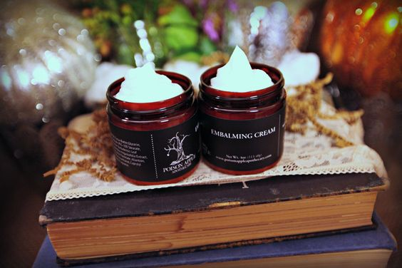 Preserve your lovely skin with the Poison Apple Apothecary's signature body butter- Embalming Cream. This concoction is packed with the very best ingredients to keep your skin healthy and glowing. We