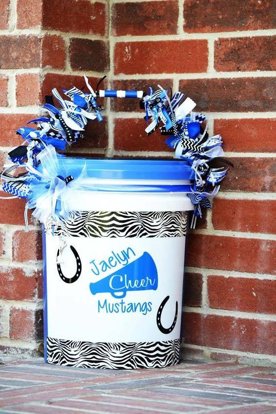 My daughters cheer bucket!! Go Mustangs!!!