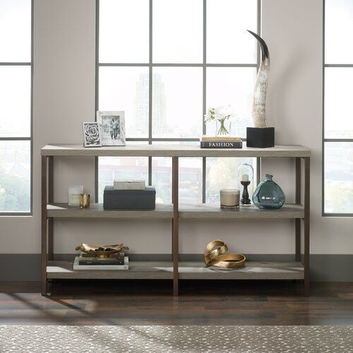 Weathered Grey Oak Entryway Console Sofa Table Bookshelf with Open Storage Display