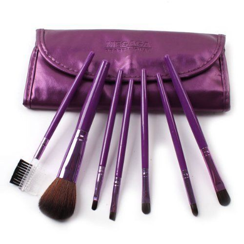 Megaga Professional makeup Brush Set7 pcs colorful travelling make up brush set includes brushes for the eyes face eyelasheyebrow brush Purple *** Details can be found by clicking on the image.
