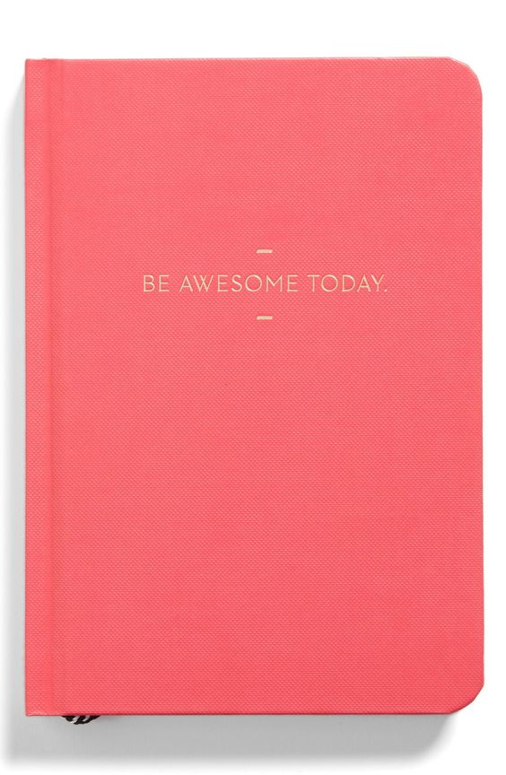 This adorable and sleek pink journal is stamped with the foiled motto 'Be Awesome Today'.