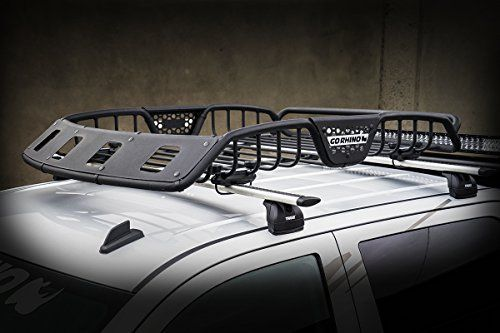 Amazon Com Go Rhino 59047t Sr40 Series Textured Black 60 X 40 Light Ready Roof Rack With Black Fairing Large Automot Roof Rack Safari Rack Cargo Carriers