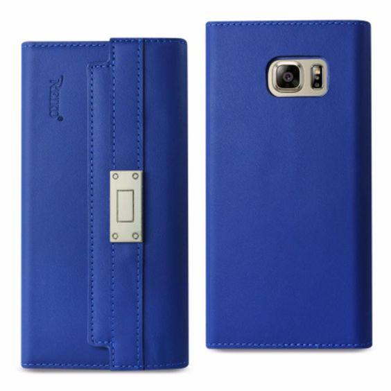 Reiko Samsung Galaxy Note 5 Genuine Leather Flip Wallet Case Ultramarine