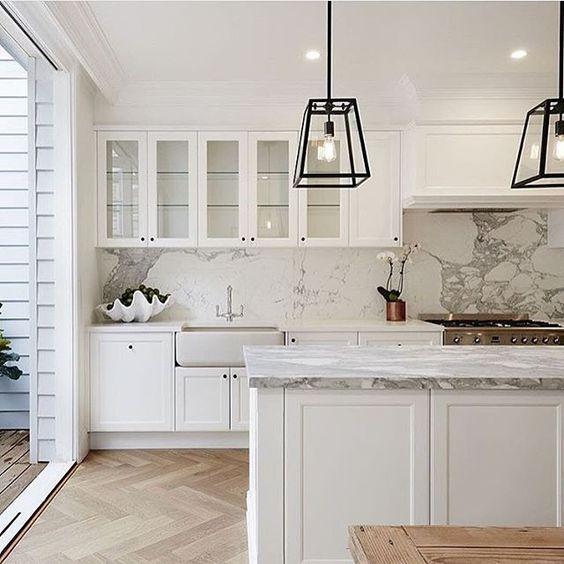 White Cabinets, Marble & Herringbone Floors Look Gorgeous