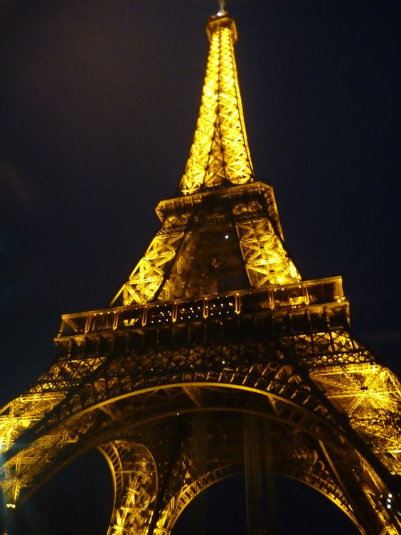 this was the effel tower in the night it changes colour every hour and shimmers when the colour changes ...