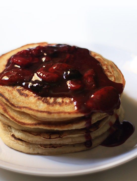 Eggless Buttermilk Pancakes Berry Sauce The Indian Claypot Recipe Buttermilk Pancakes Berry Sauce Eggless Recipes