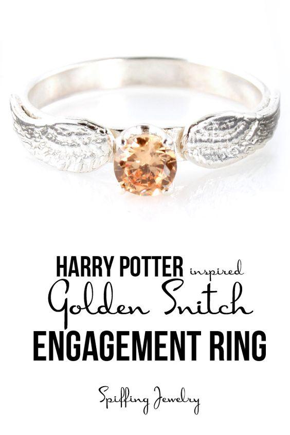 Harry potter themed wedding rings